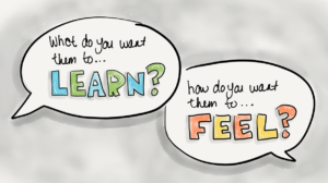 2 key design questions what do you want them to learn? how do you want them to feel?