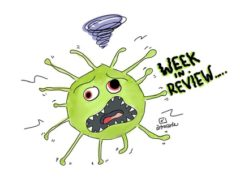 cartoon image of a virus molecule and text saying Week in Review
