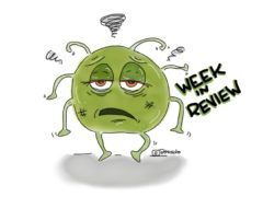 "image of a cartoon virus looking tired and the words, ""week in review"""